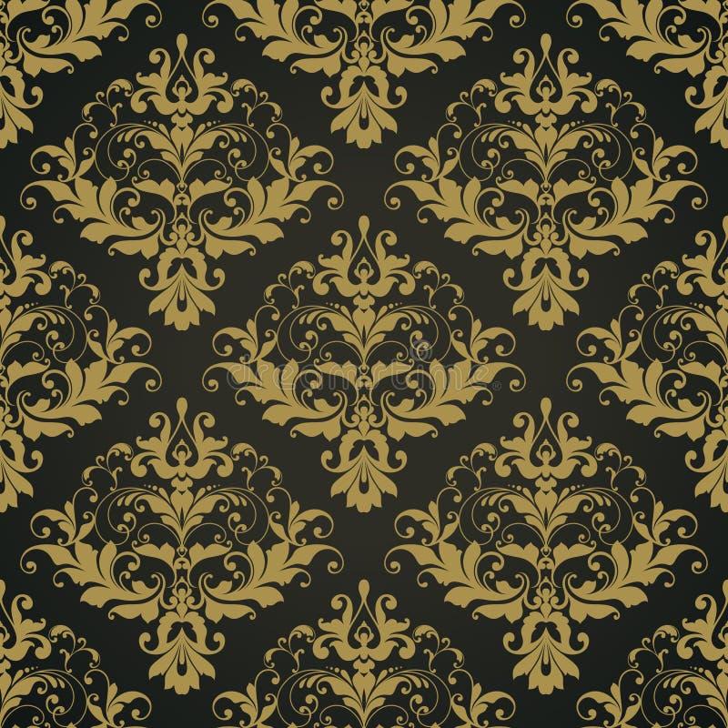 Vector black ornate damask background Seamless abstract decorative elegant pattern. vector illustration