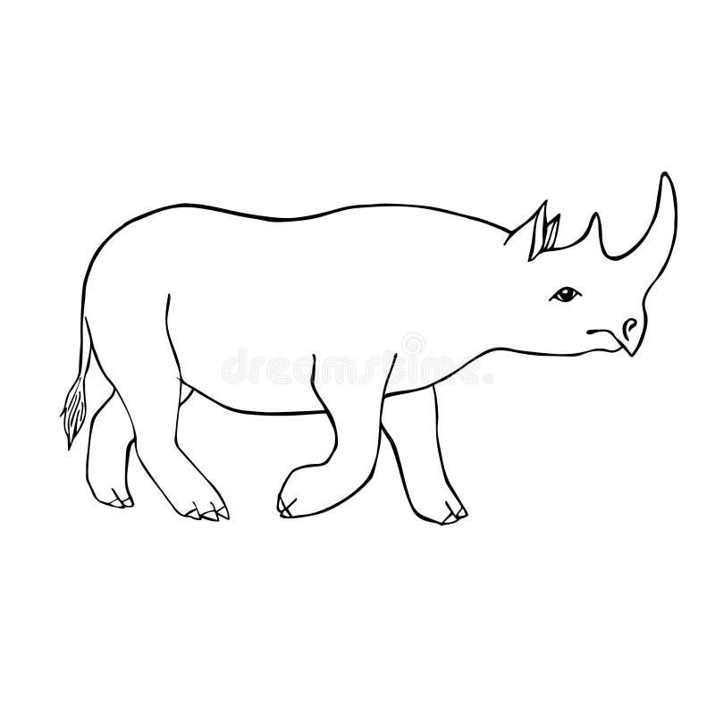 Outline Rhino Line Silhouette Rhinoceros Stock Illustrations