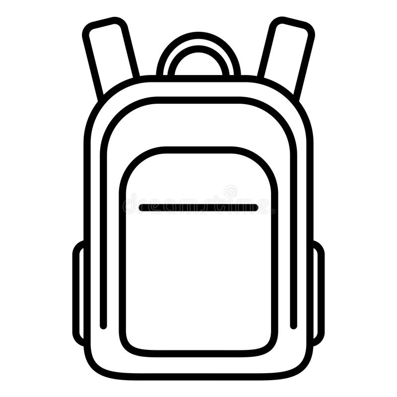Vector Single Black Outline Icon - School Bag. Plain Backpack. vector illustration