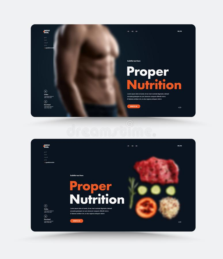 Vector black page web site template for personal trainer or nutritionist with proper nutrition header. Design of the standard size with a photo of the man and stock illustration