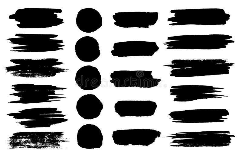 Vector black paint brush spots, highlighter lines or felt-tip pen marker horizontal blobs. Marker pen or brushstrokes. And dashes. Ink smudge abstract shape vector illustration