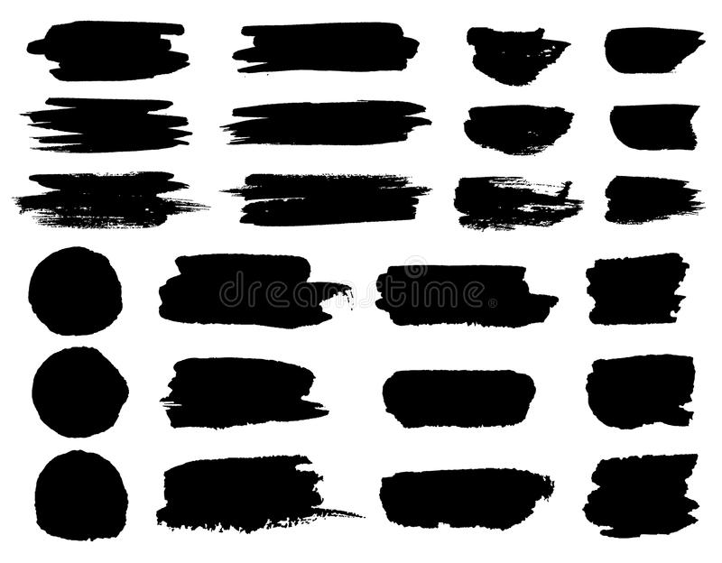 Vector black paint brush spots, highlighter lines or felt-tip pen marker horizontal blobs. Marker pen or brushstrokes. And dashes. Ink smudge abstract shape royalty free illustration