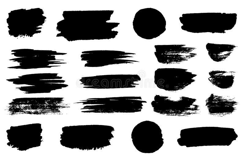 Vector black paint brush spots, highlighter lines or felt-tip pen marker horizontal blobs. Marker pen or brushstrokes. And dashes. Ink smudge abstract shape stock illustration
