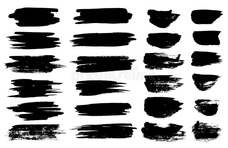 Vector black paint brush spots, highlighter lines or felt-tip pen marker horizontal blobs. Marker pen or brushstrokes royalty free illustration
