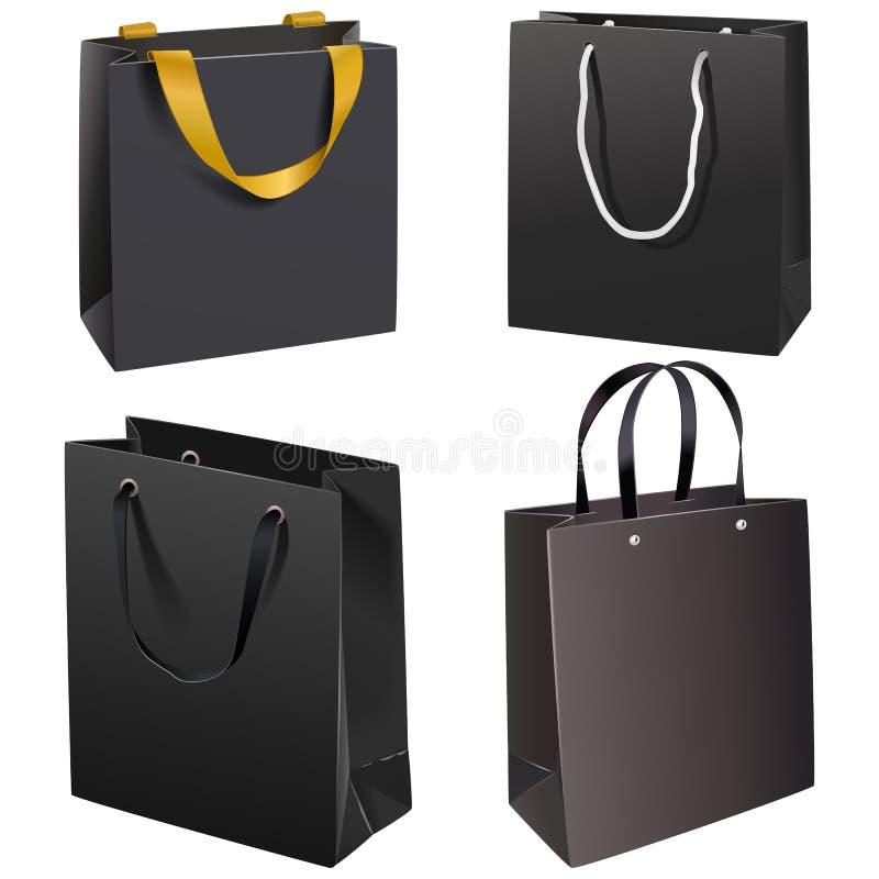 Vector Black Paper Bags stock photos
