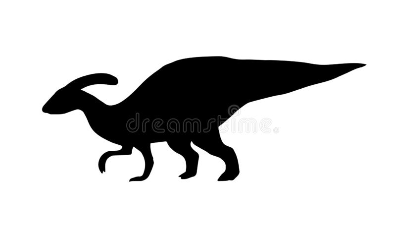 Vector black parasaurolophus dinosaur silhouette illustrazione vettoriale