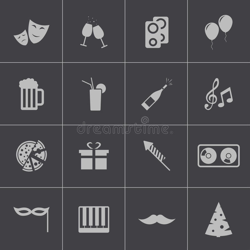 Vector black party icons set. This is file of EPS10 format stock illustration