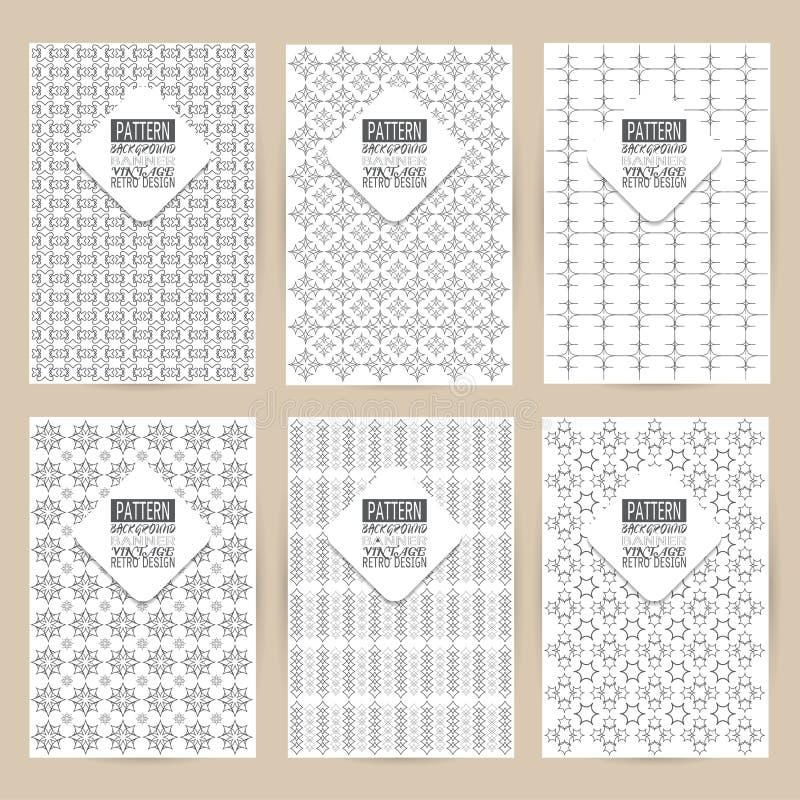 Vector black pattern set of Vintage background banner retro brochures templates cards six frames design Scribbled lines rectangle. Vector pattern set of Vintage vector illustration