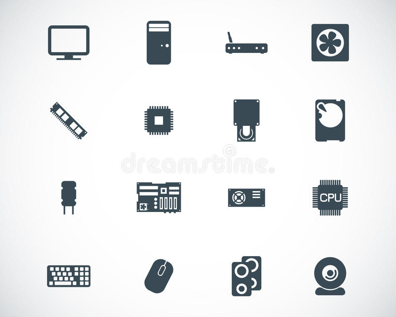 Vector black PC components icons vector illustration