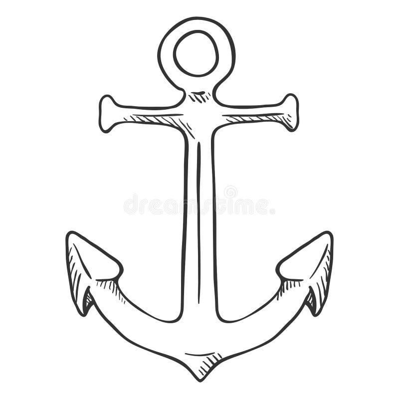 Free Vector Black Penciling Sketch Illustration - Marine Boat Anchor Stock Photography - 129924252
