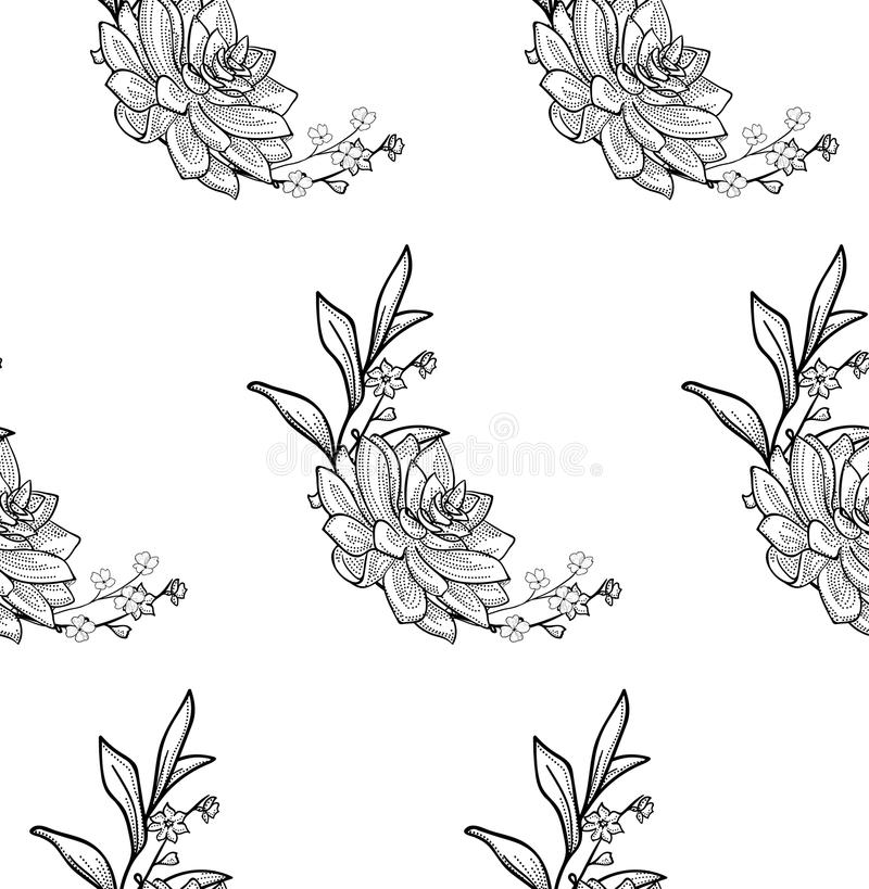 Vector Black Seamless Pattern with Drawn Flowers. Vector Black Seamless Backdround Pattern with Drawn Flowers, Branches, Succulent. Doodle Style Greenery, Lush royalty free illustration