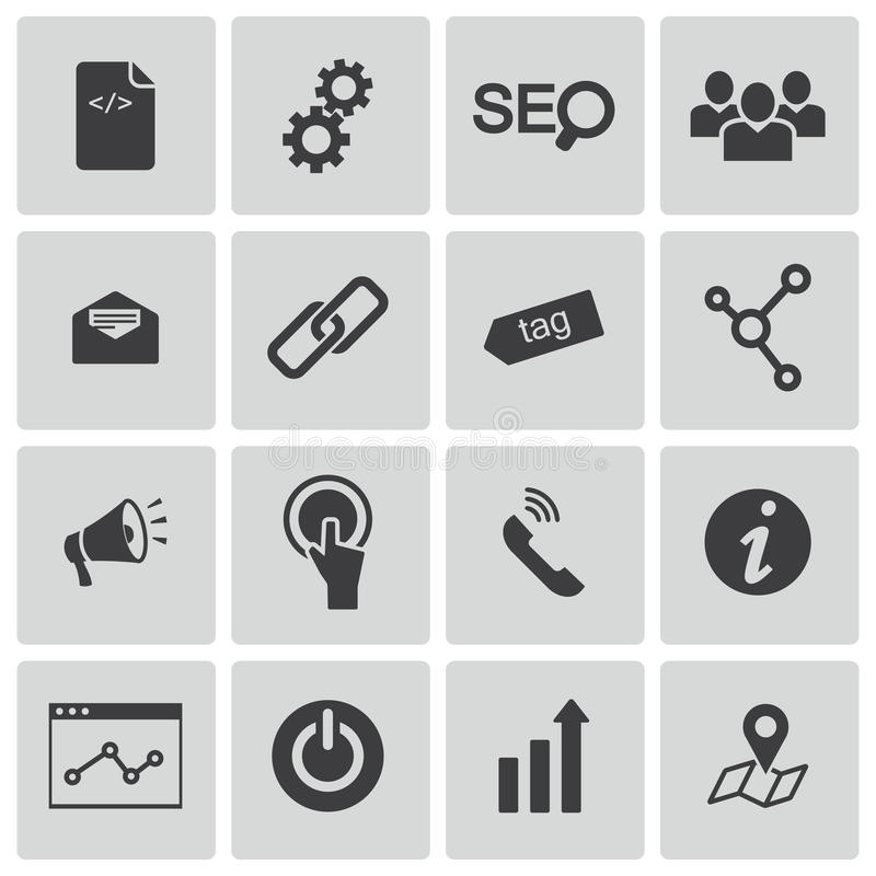Vector black seo icons set vector illustration