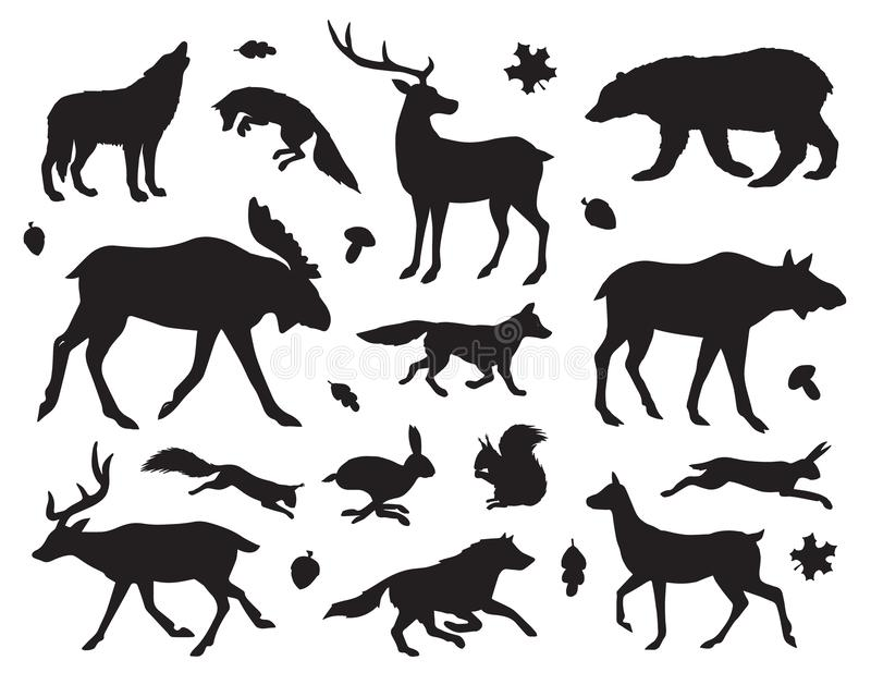 Vector black set of forest animals silhouette stock illustration