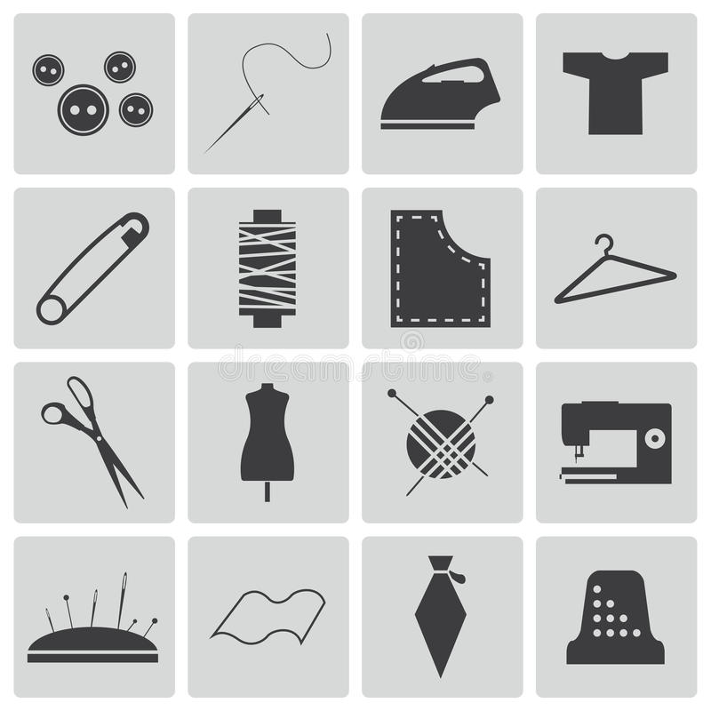 Download Vector black  sewing icons stock illustration. Image of knitting - 33536276