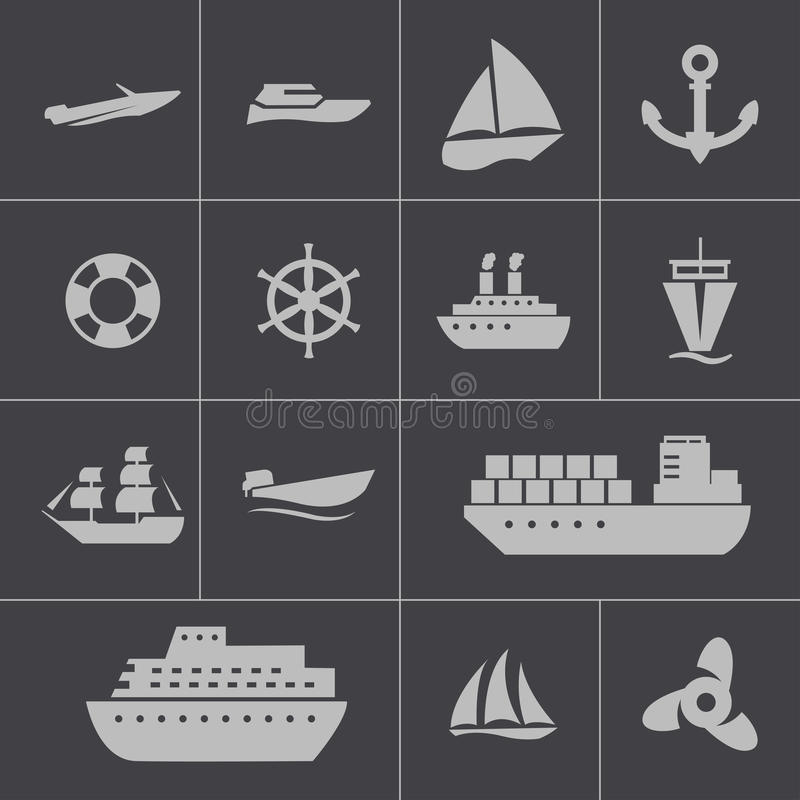 Vector black ship and boat icons set. This is file of EPS10 format royalty free illustration