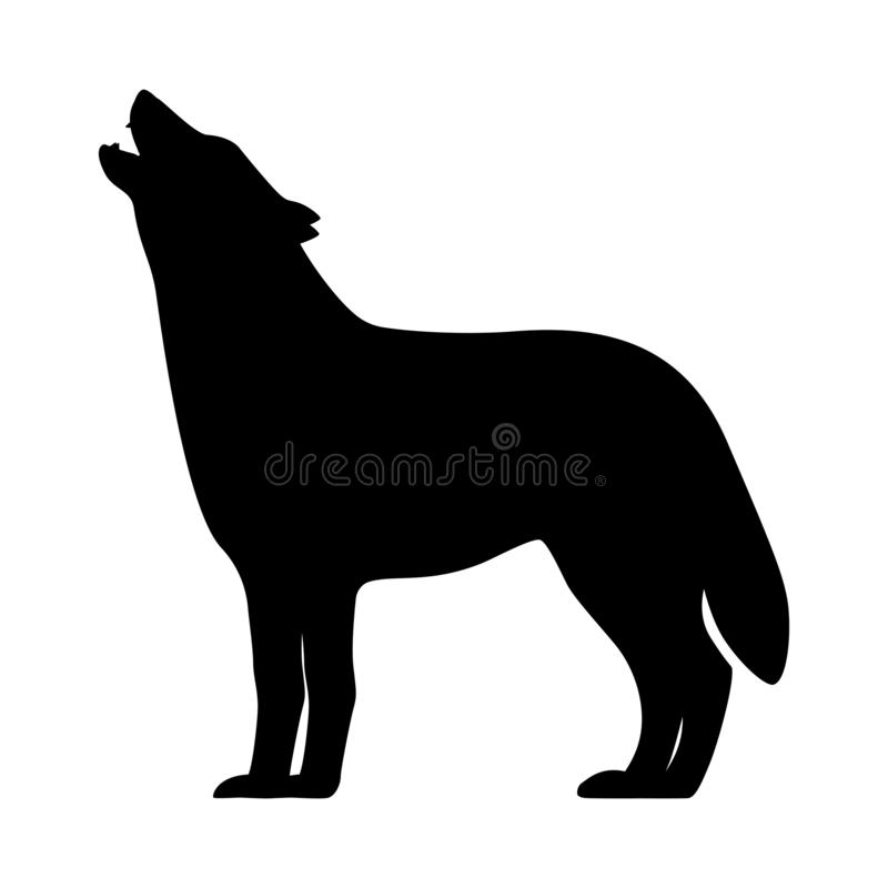 Vector black silhouette of a howling wolf stock illustration