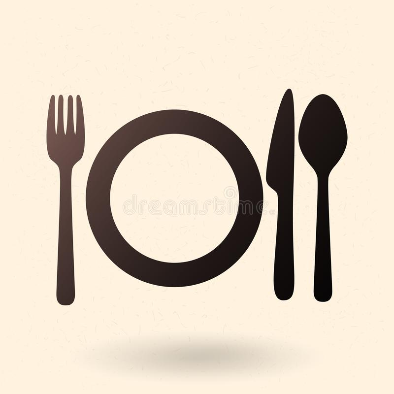 Vector Black Silhouette Icon - Fork, Knife, Spoon and Plates stock illustration