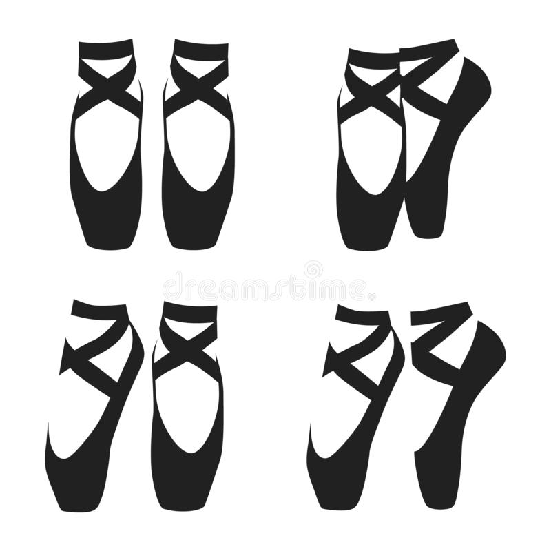 Vector black silhouette set of ballet shoes in classic positions isolated on white background.  vector illustration
