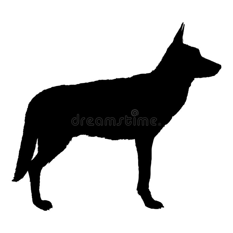 Vector Black Silhouette Standing German Shepherd Dog stock illustration