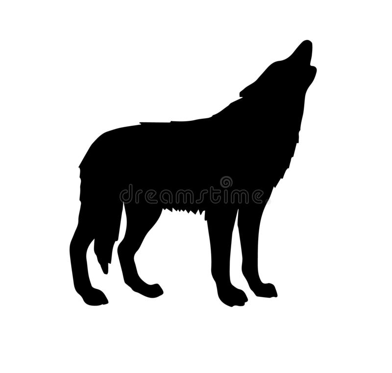 Vector black silhouette of wolf howling vector illustration