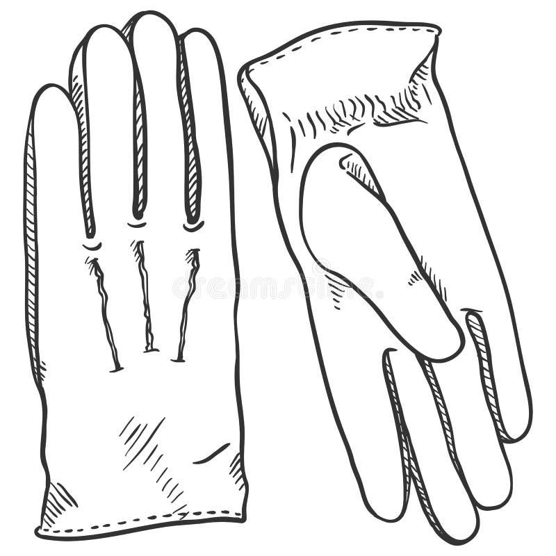 Vector Black Sketch Illustration - Classic Leather Gloves vector illustration