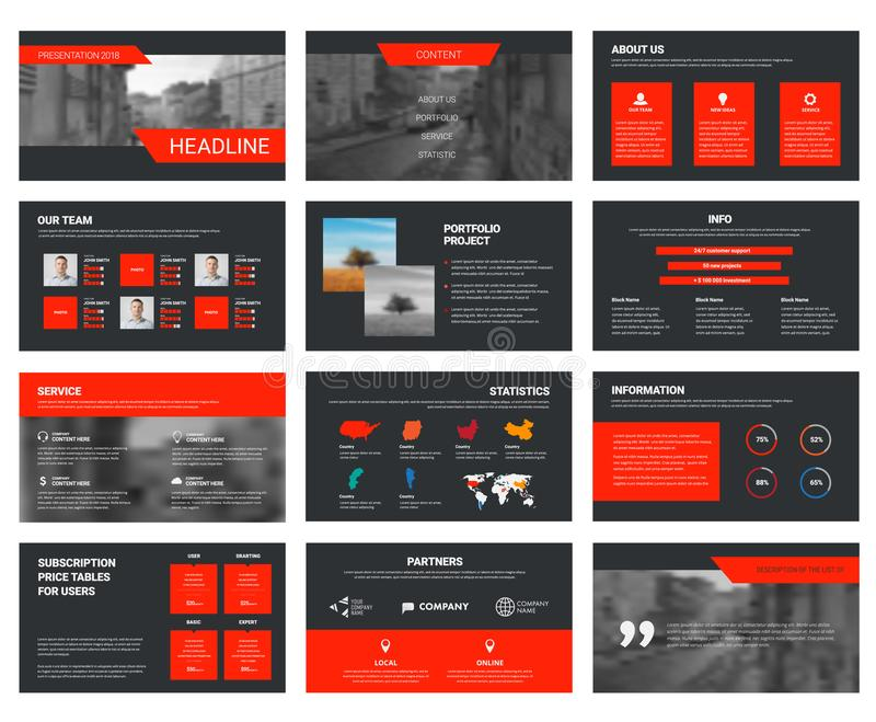 Vector black slides template with red elements for presentation. vector illustration