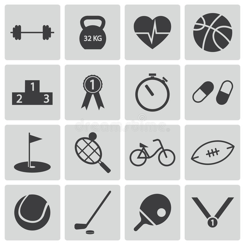 Download Vector black  sport icons stock illustration. Image of games - 33536330