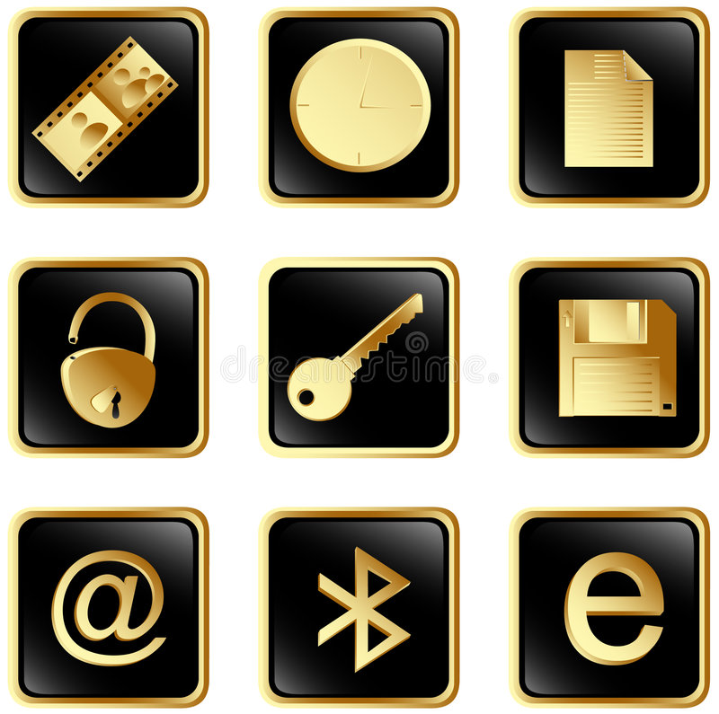 Download Vector Black Square Web Buttons Set 3 Stock Vector - Image: 7730300