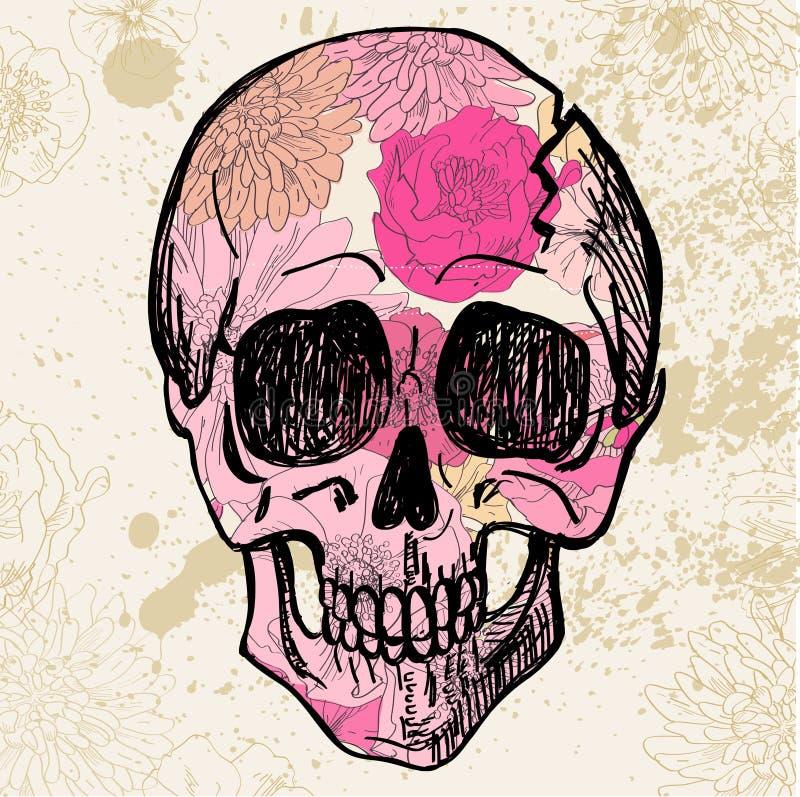 Vector Black Tattoo Sugar Skull Illustration royalty free illustration