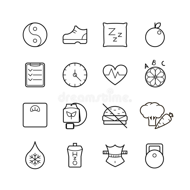 Vector black thin line health icons set royalty free illustration