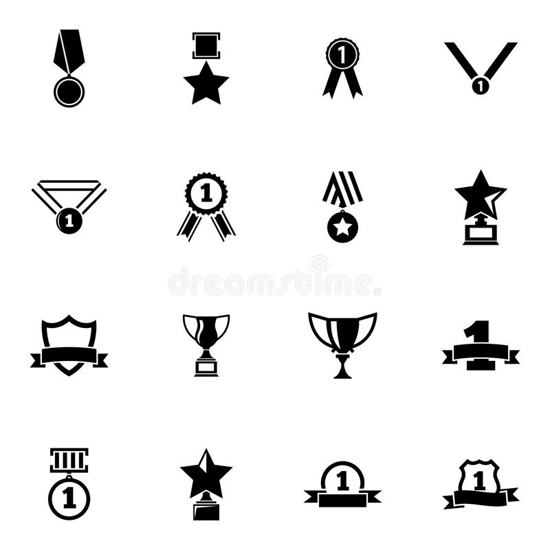Vector black trophy and awards icons set vector illustration