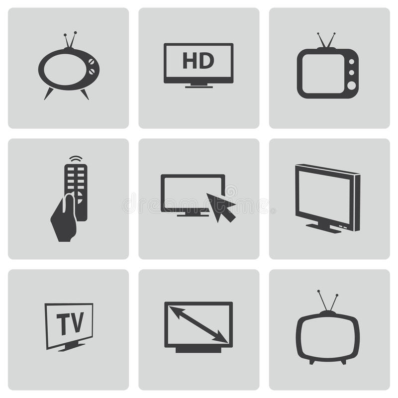Vector black TV icons set. This is file of EPS10 format royalty free illustration