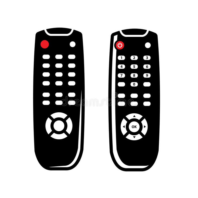 Vector black tv remote control icons set. On white background stock illustration