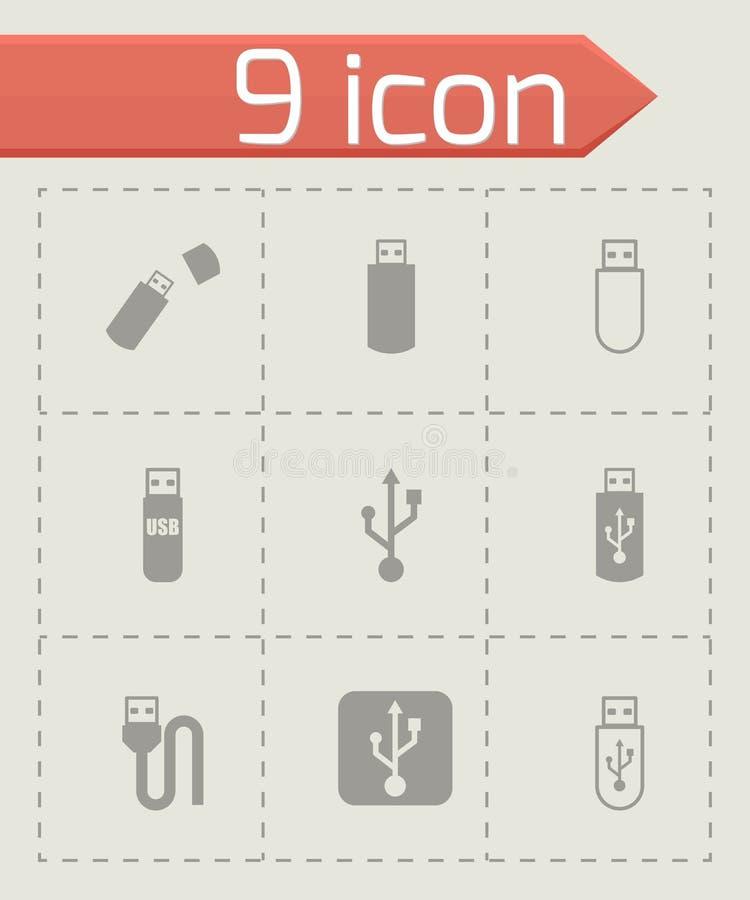 Vector black usb icon set royalty free illustration