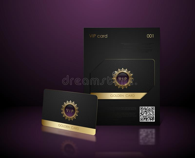 Vector black vip card presentation with golden frame. VIP membership or discount card. Luxury club ticket. Elite black coupon. Vip. Card with jewel element on vector illustration