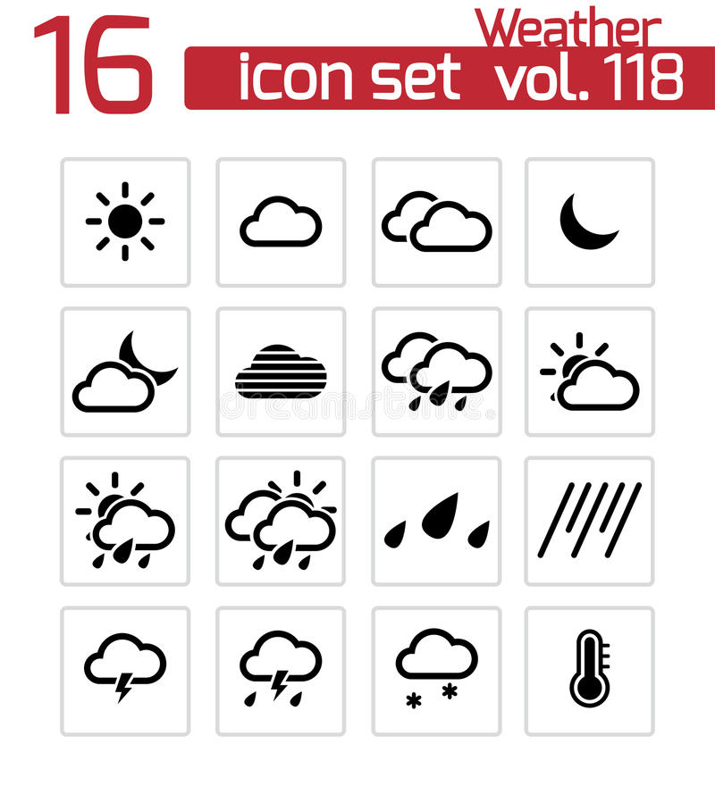 Download Vector Black  Weather   Icons Stock Illustration - Image: 34169675