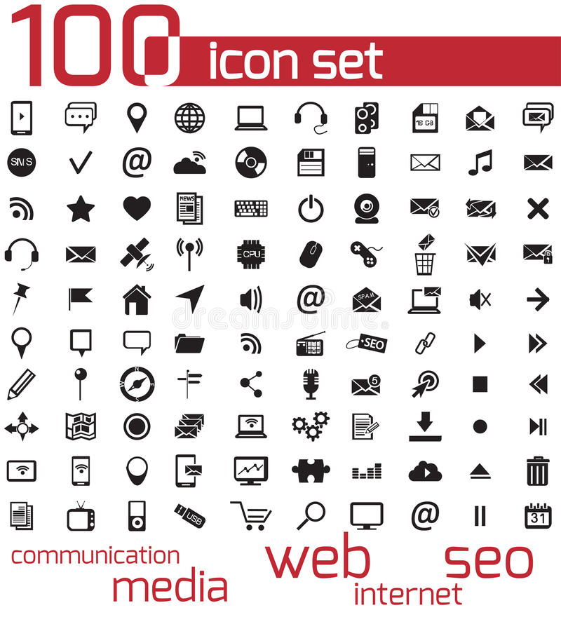 Vector black 100 web and media icons vector illustration