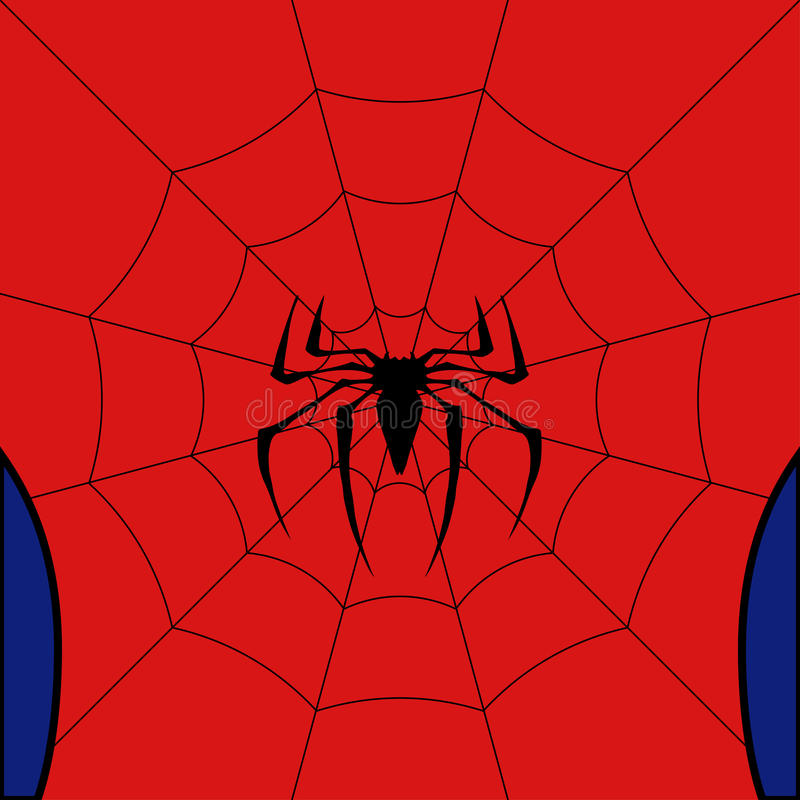 Free Vector Black Web With Spider On Red Background. Stock Photo - 95968040