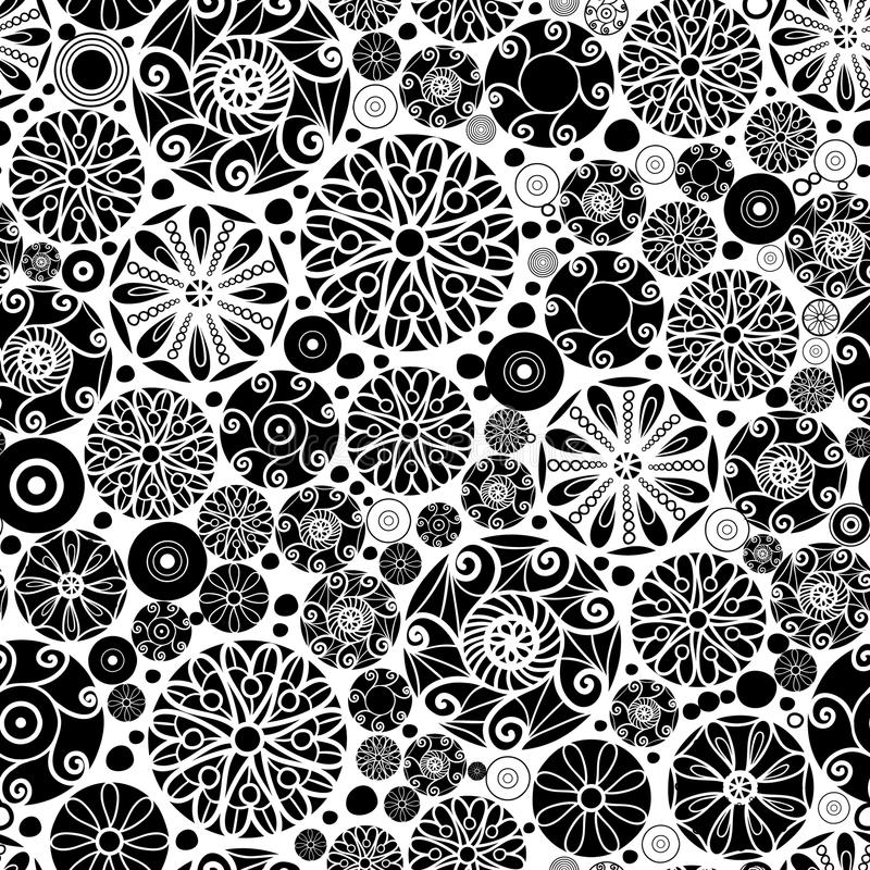 Vector Black and White Abstract Doodle Circles Seamless Pattern Background. Great for elegant gold texture fabric, cards, wedding invitations, wallpaper stock illustration