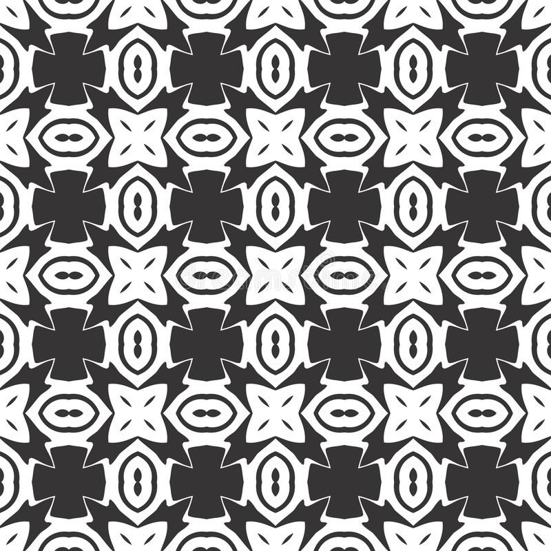 Vector Black and white abstract geometrical flower seamless pattern or design vector illustration