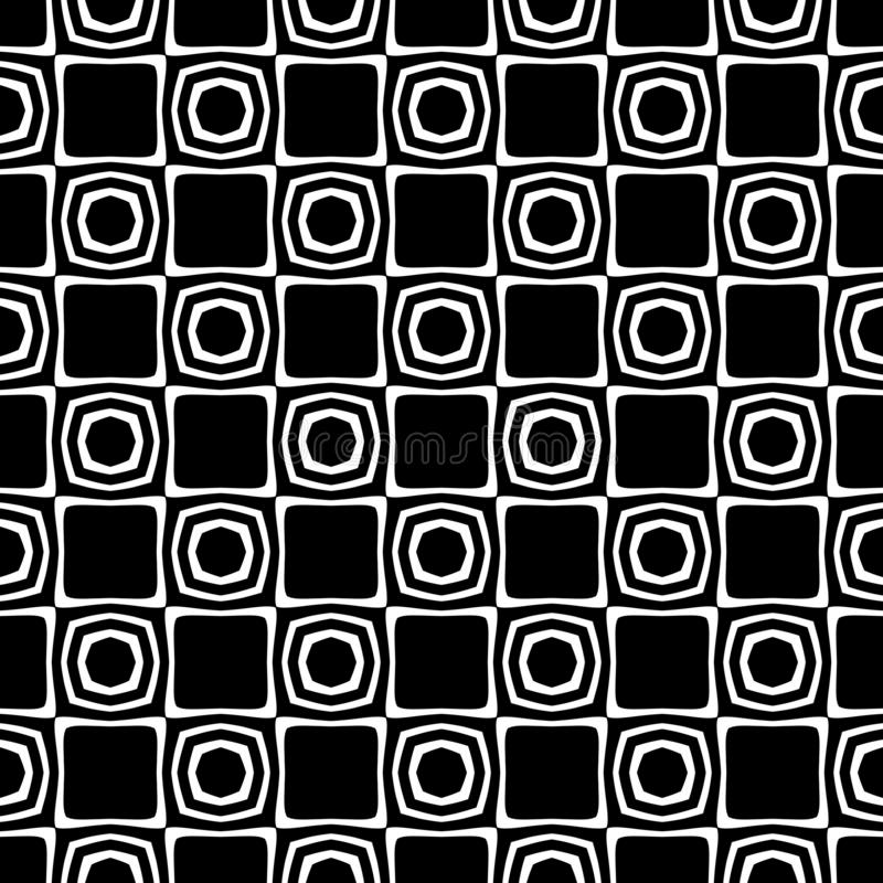 Vector Black and white abstract octagon and rhombus seamless pattern royalty free illustration