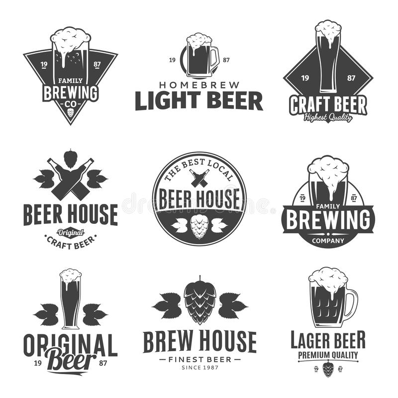 Vector black and white beer logo, icons and design elements vector illustration