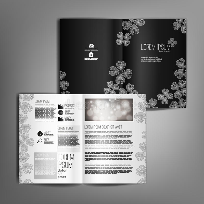 Vector Black And White Brochure Template Design With Floral Elem