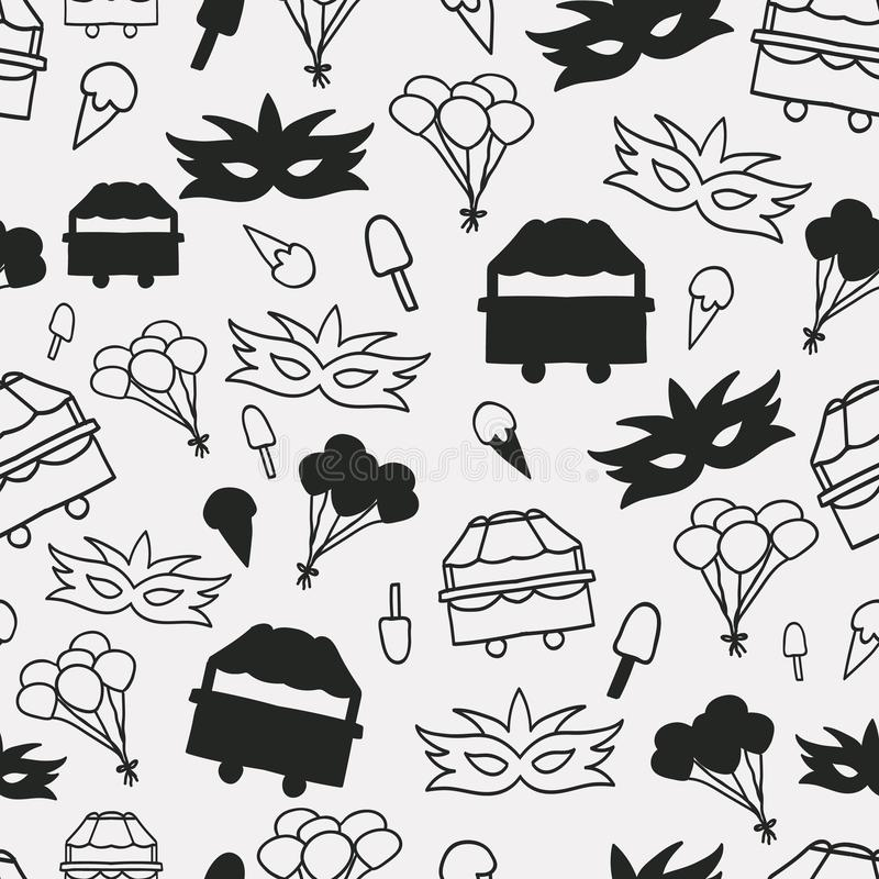 Vector black and white carnival seamless repeat pattern background. vector illustration
