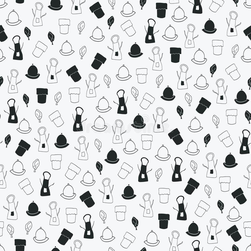 Vector black and white chef tools seamless pattern background vector illustration