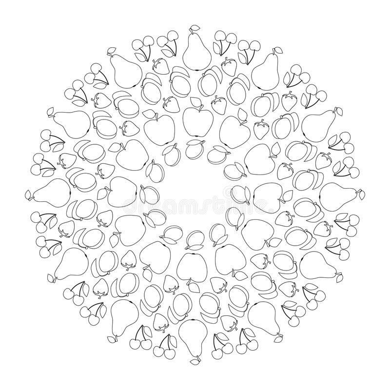 Vector black and white fruity mandala with apple, pear, apricot, cherry, plum and strawberry - adult coloring book page royalty free illustration