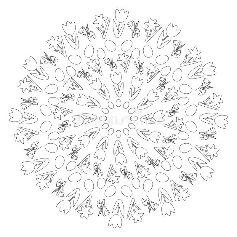 vector black and white round easter spring mandala with