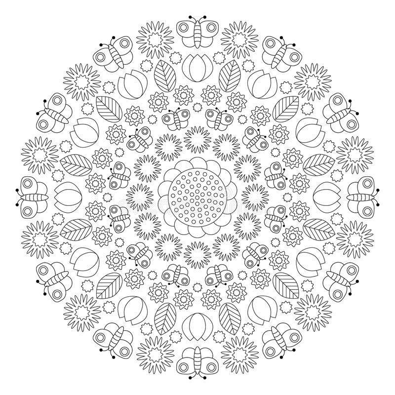 Vector black and white spring mandala with butterflies, flowers, leaves, tulips - adult coloring book page stock illustration