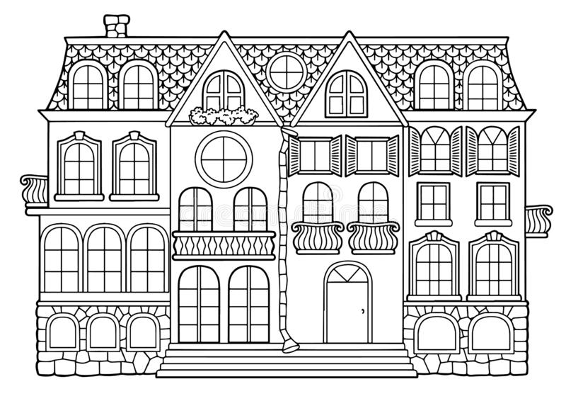 Vector black and white coloring book for adults. Country-style multistory building with separate apartments, balconies and win. Dows and attic royalty free illustration