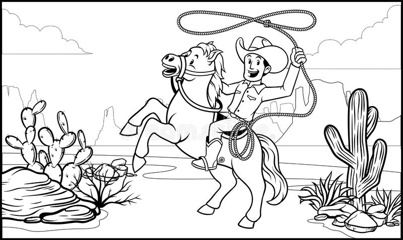 Black and white coloring page cowboy ride the horse stock illustration